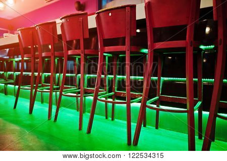 Red Bar Stools At Diode Color Light