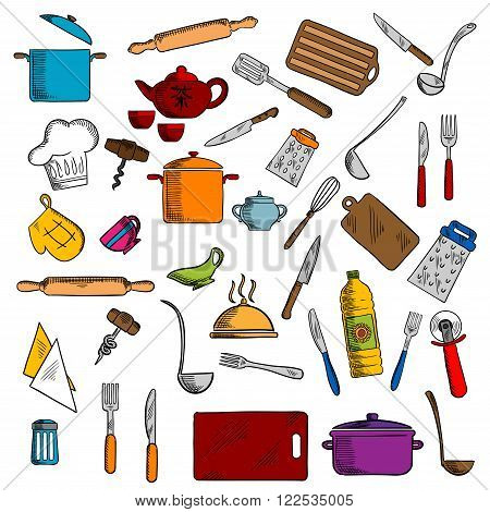 Pots and cups, tea set, knives and forks, spatula and cutting board, whisk and chef hat, graters and rolling pin, tray and corkscrew, napkin and pizza cutter, oven glove and salt shaker