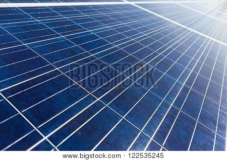 Solar energy panel under blue sky