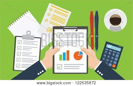 Businesman holding paper sheet in hands paperwork consultant financial audit financial research report auditing tax process data analysis seo analytics market stats calculate in vector