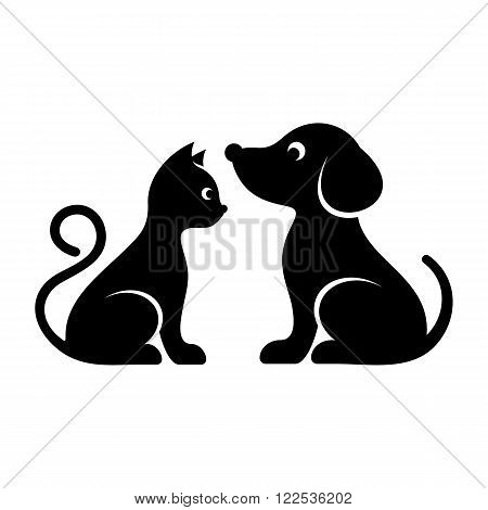 Black vector cat and dog high quality icons