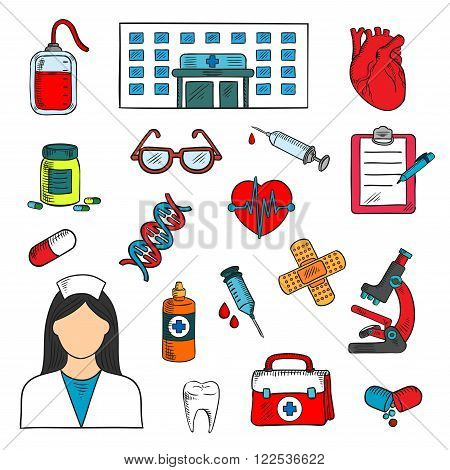 Medical sketched icons of doctor and medicine bottles, syringes and human hearts, glasses and blood bag, microscope, first aid kit, DNA and healthy tooth, plaster and clipboard with pen