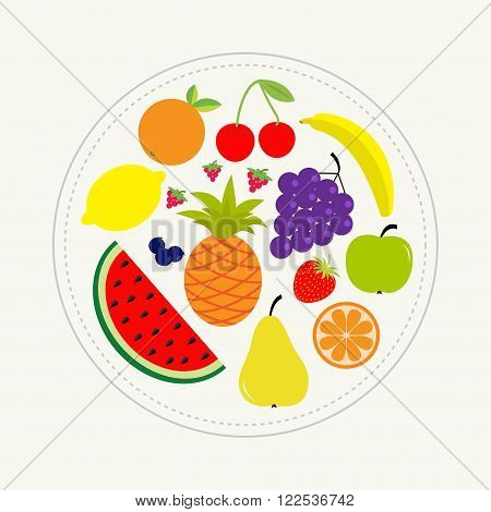 Juicy ripe fruit and berry set. Banana cherry strawberry orange pineapple grape lemon cherry watermellon blueberry pear raspberry apple Dash line circle Isolated Flat design Vector illustration
