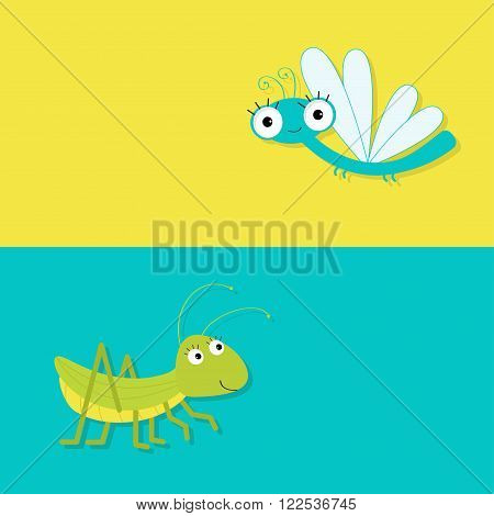 Grasshopper and dragonfly. Cute cartoon character. Yellow blue background. Banner set Baby insect collection. Flat design. Vector illustration