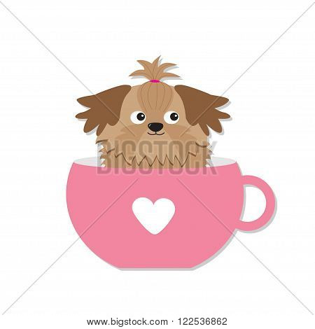 Shih Tzu dog sitting in pink cup with heart. Cute cartoon character. Flat design. White background. Vector illustration