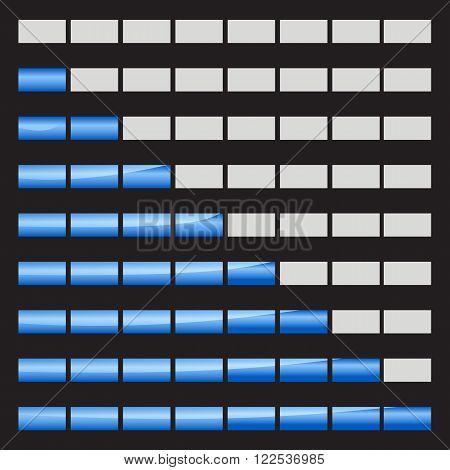 Horizontal progress bars 8 positions vector illustrations