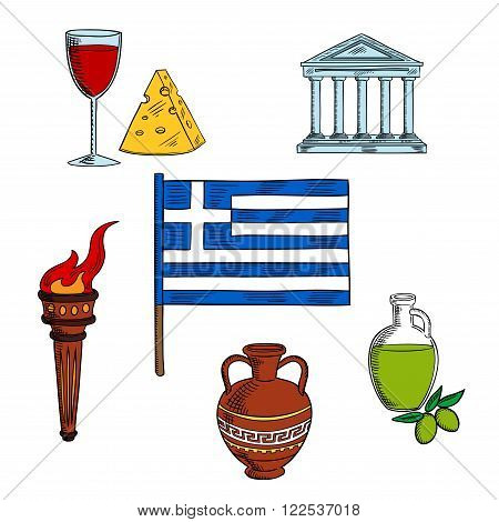 Traditional symbols of Greece with national flag, encircled by ancient flaming torch, ceramic amphora and Parthenon temple, olive oil, wine and cheese. For travel and tourism design