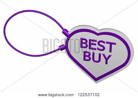 Heart tag best buy isolated on white background. 3D render.