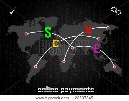 The concept of online payments business traffic monetary system transactions online payments transfer banking. Vector