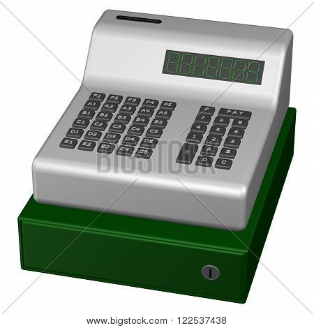 Old POS system isolated on white background. 3D render.