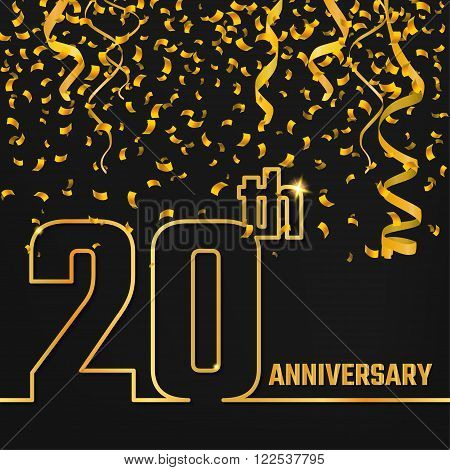 Vector Illustration of Anniversary 20th Outline for Design, Website, Background, Banner. Jubilee silhouette Element Template for festive greeting card. Shiny gold Confetti celebration