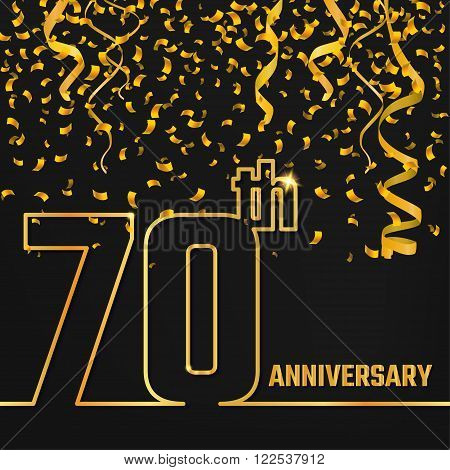 Vector Illustration of Anniversary 70th Outline for Design, Website, Background, Banner. Jubilee silhouette Element Template for festive greeting card. Shiny gold Confetti celebration