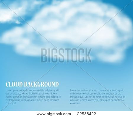 Vector Illustration of Heaven with Soft Cloud for Design, Website, Background, Banner. Weather Element Template for Summer concept