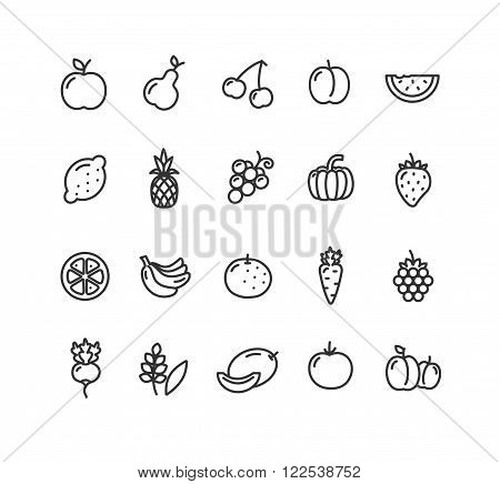 Fruits and Vegetables Outline Black Icon Set. Vector illustration