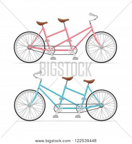 Vintage Tandem Bicycle Set. Pink and Blue. Vector illustration