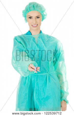 Female doctor with a scalpel.