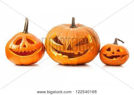 Halloween pumpkin head jack lantern isolated on white background