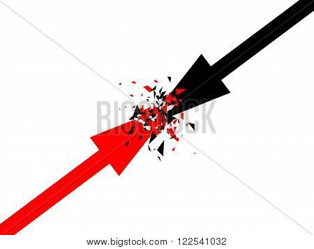Abstract vector background with arrows, Two opposite forces clashing, Confrontation concept vector design