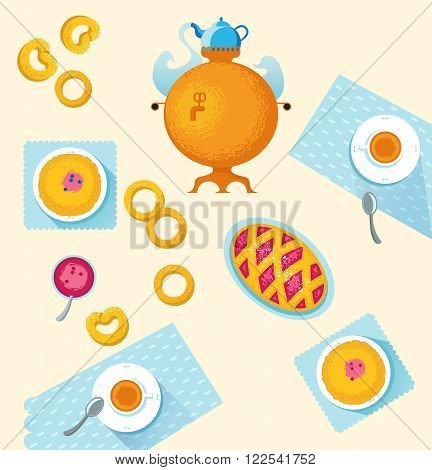 Russian cuisine. Template for menu with cooking utensils and food: samovar cup napkin cake jam pancakes muffins