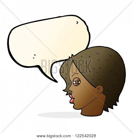 cartoon female face with narrowed eyes with speech bubble