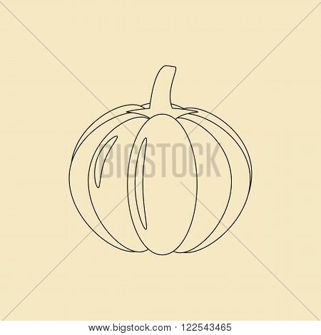 Pumpkin Vegetable Icon on a yellow background. Vector illustration