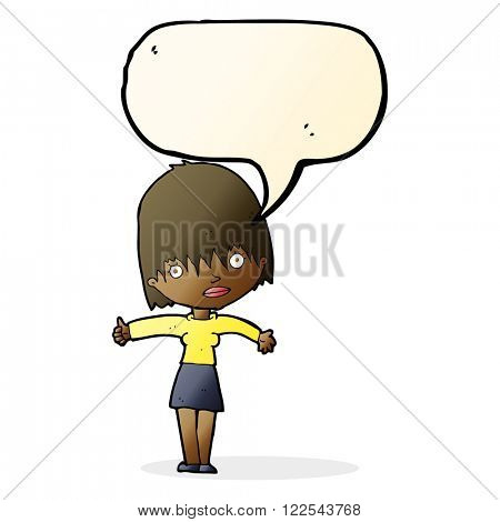 cartoon curious woman with speech bubble