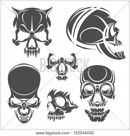 Skulls with tribal elements vector set. Vector illustration.