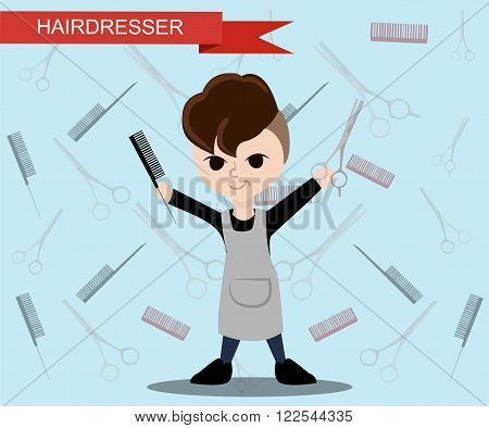 The fashionable hairdresser. Flat hairdresser Make-up artist objects. Beauty style. Beauty blogger