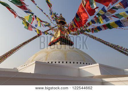 Kathmandu, Nepal - December 03, 2014: Detail of the Boudhanath Stupa