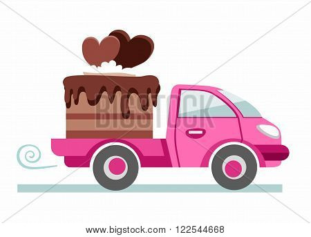 Pink car carries the chocolate cake. On the cake two chocolate heart. Production and delivery of cakes. Color flat illustration on white background. Vector.