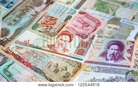 Variety of Middle East banknotes
