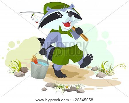 Scout goes fishing. Raccoon scout carries bucket of fish. Fisherman with fishing rod. Cartoon illustration in vector format