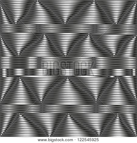 Grey metallic pattern The composition of gray metal pattern with unstable elements for decoration and design on a dark gray background with the illusion of volume