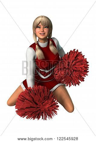Cheerleader With Pompoms On White
