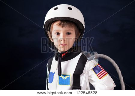 Beautiful Portrait Of Preschool Boy, Dressed As Astronaut