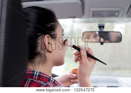 Girl Makeup In The Car
