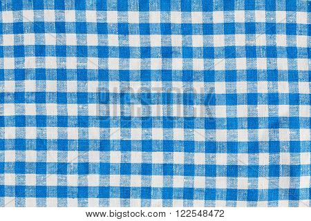 Linen Plaid Fabric Tablecloth. Abstract Background, Blue And White Colors