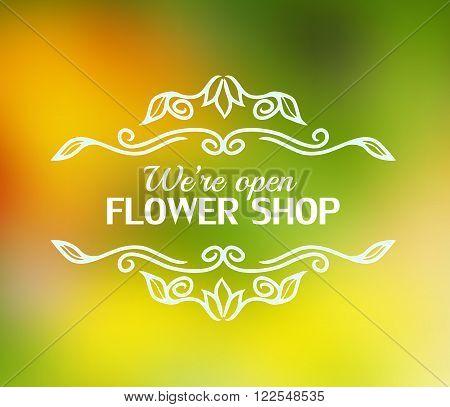 Vintage signage for flower shop. Vector logotype