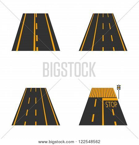 Icons of the road with yellow markings and road signs second part vector illustration.