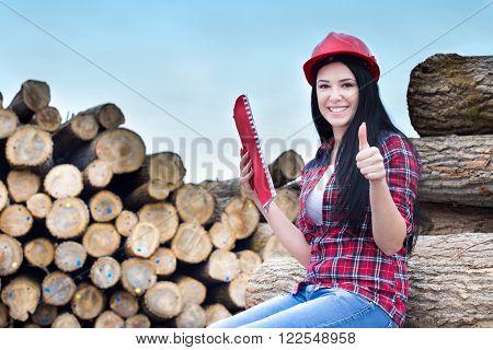Female Lumber Engineer Showing Ok Sign