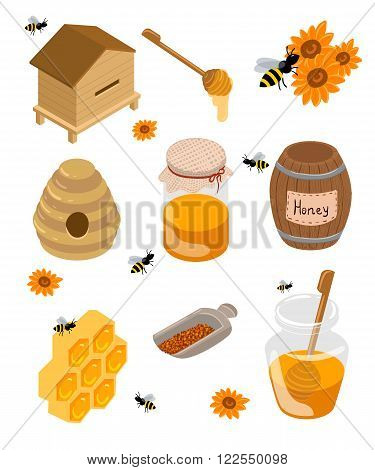 Alphabet for children. Cute vector zoo alphabet with cartoon animals isolated on whiteIsometric apiary set. Apiary vector illustration Honey bank vector illustrations Bee honey