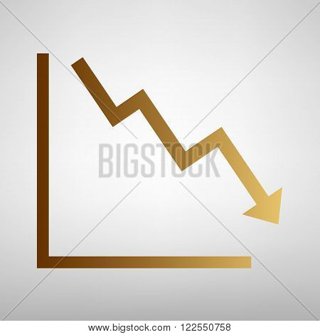 Arrow pointing downwards showing crisis. Flat style icon with golden gradient