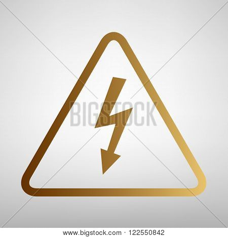 High voltage danger sign. Flat style icon with golden gradient