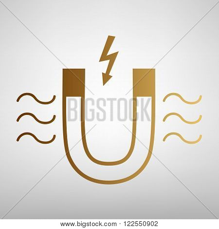 Icon of magnet with magnetic force indication on transparent background