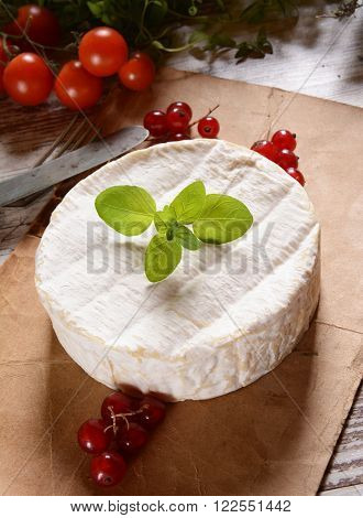 Brie cheese. Camembert cheese. Fresh Brie cheese with basil and cranberry