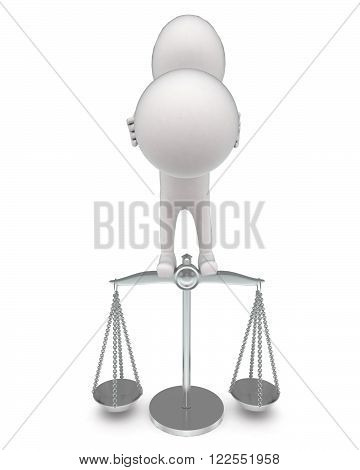 3D Man Holding Sphere And Standing On Weight Measuring Machine Concept