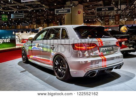 Geneva Switzerland - February 29 2016: 2016 MTM Audi RS3 R presented on the 86th Geneva Motor Show in the PalExpo