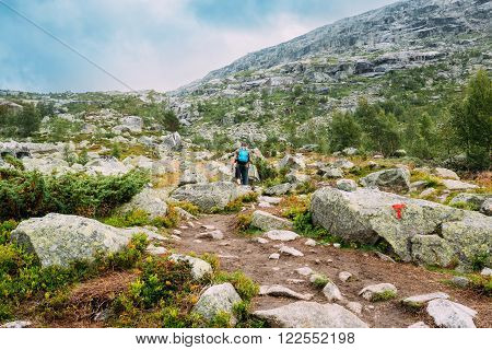 Young man goes on mountain hiking trail in Norway. Path to natural attractions of Trolltunga or Troll's tongue.