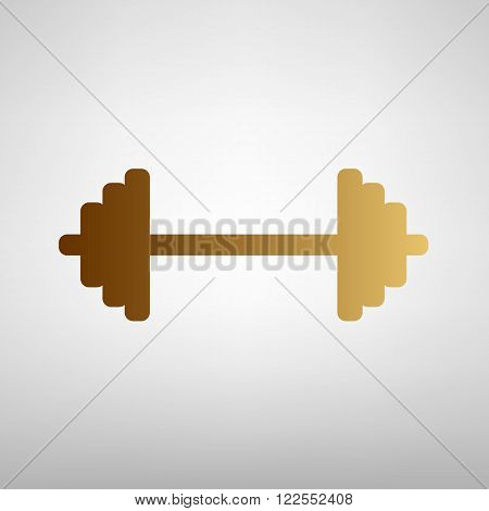Dumbbell weights sign. Flat style icon with golden gradient