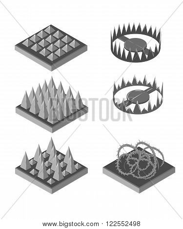Isometric trap for game. Traps set. Set for game. Game landscape.